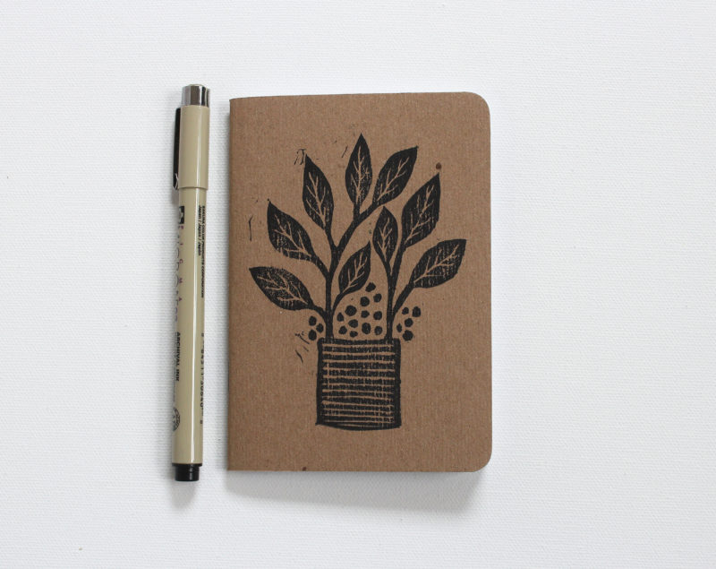 hand printed plants in pots notebooks with pen