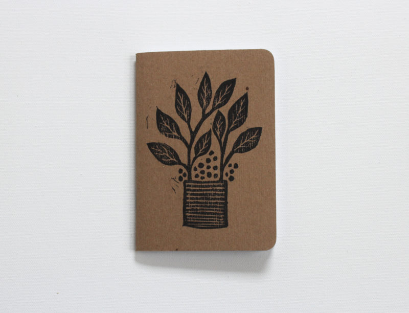 Plants in pots journal hand printed in black ink