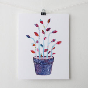 collage art print in purple, blue and pink