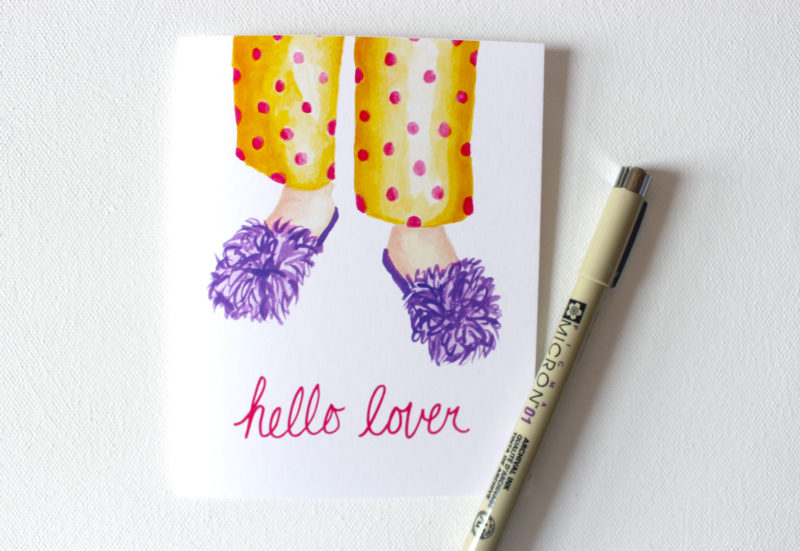 funny love cards with the words hello lover and painted image of fluffy slippers and pjs