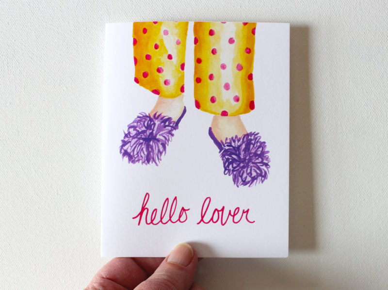 hello lover funny love cards with fuzzy slippers and pajamas