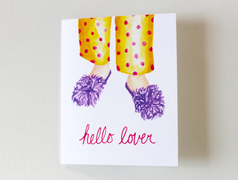 funny romantic card anniversary card with the words hello lover and an image of fluffy slippers and polka dot pajamas