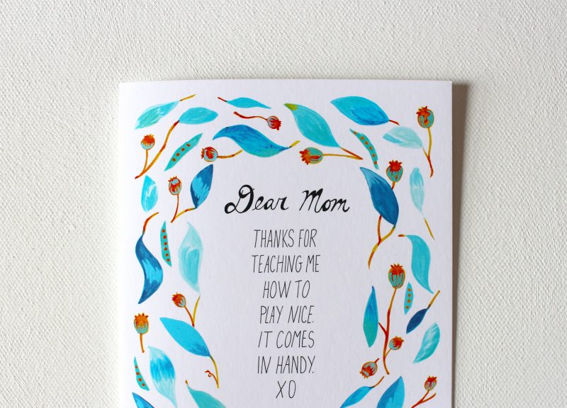 Mom cards for mother's day in turquoise and orange