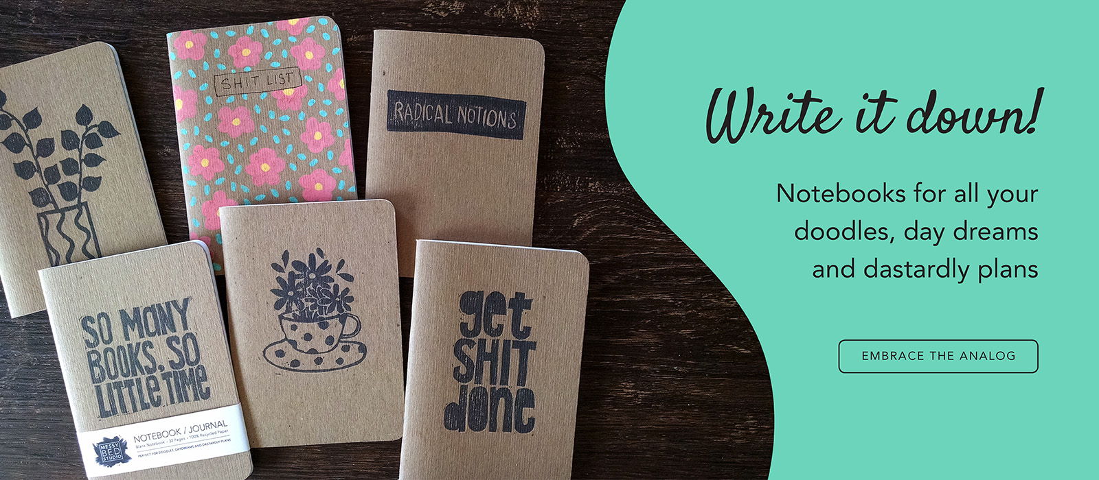 Hand painted and hand printed notebooks