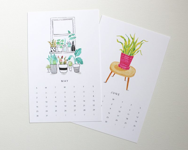 May and June pages from happy houseplants 2021 wall calendar painted in watercolors by messy bed studio