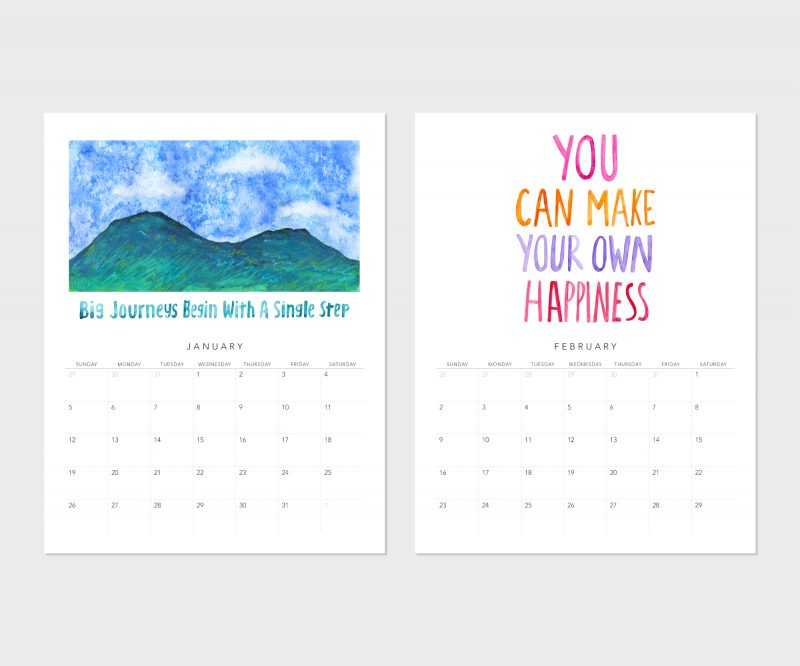Images of January and February of the Fortune Cookie Wisdom 2020 wall calendar by Messy Bed Studio