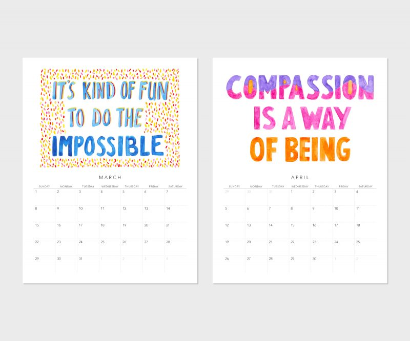 Images of March and April from the Fortune Cookie Wisdom 2020 wall calendar by Messy Bed Studio