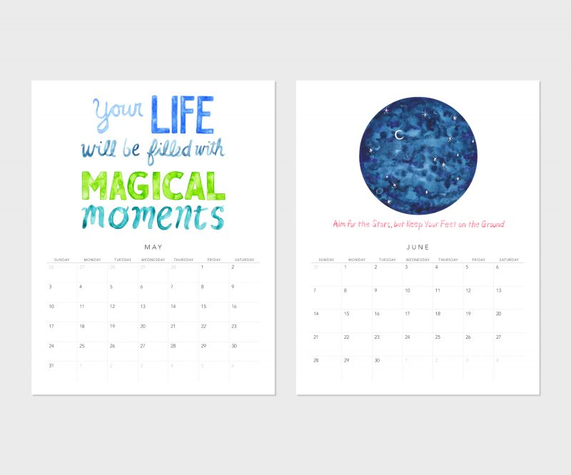 May and June calendar pages of the Fortune Cookie Wisdom 2020 Wall Calendar by Messy Bed Studio