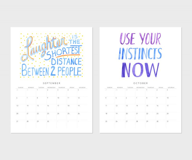 September and October images from the fortune cookie wisdom 2020 calendar by messy bed studio