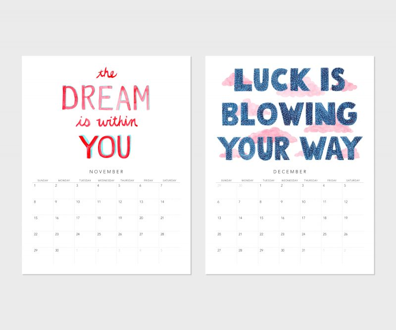 November's fortune is the dream is within you and December's is luck is blowing your way from the Fortune Cookie Wisdom 2020 calendar by Messy Bed Studio