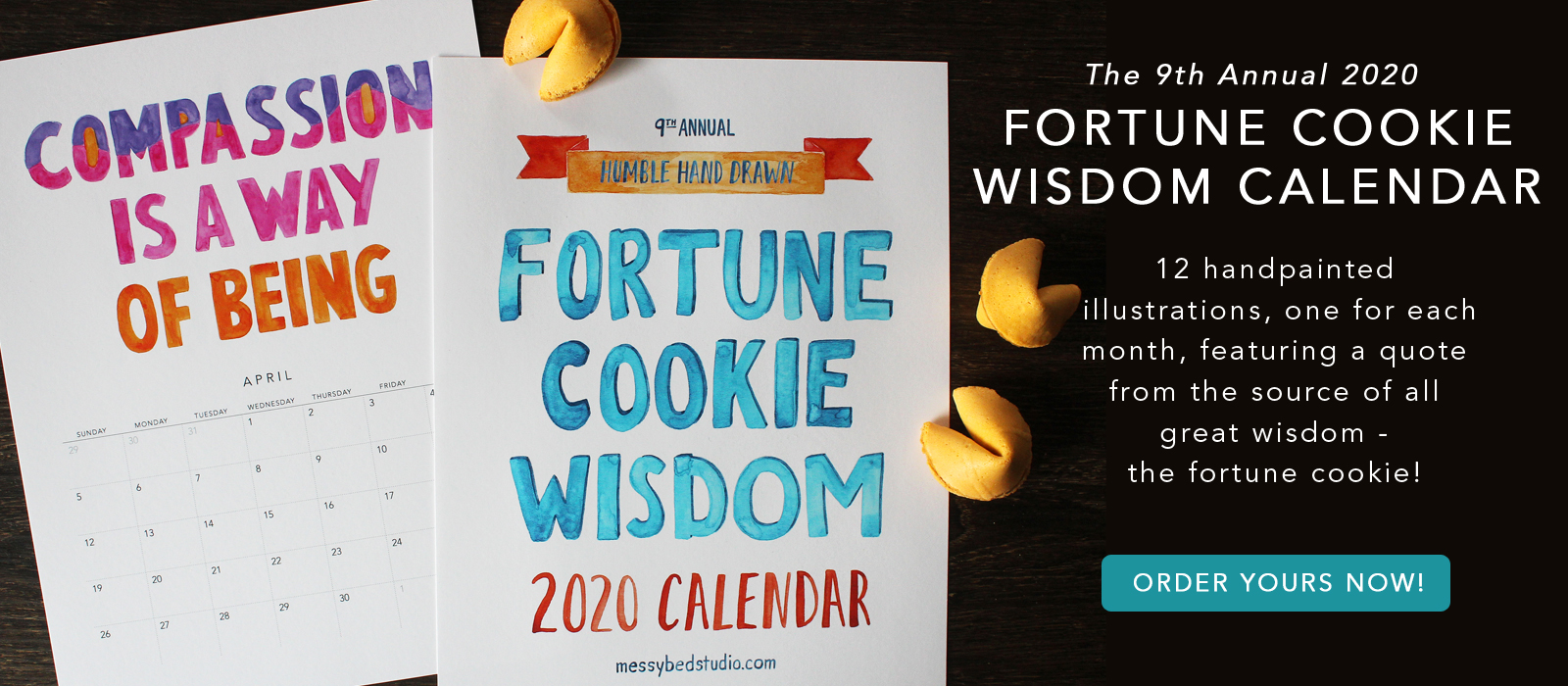 2020 fortune cookie wisdom calendar by messy bed studio