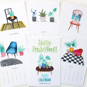 hand painted 2020 calendars for plant lovers with illustrations of houseplants on chairs by messy bed studio