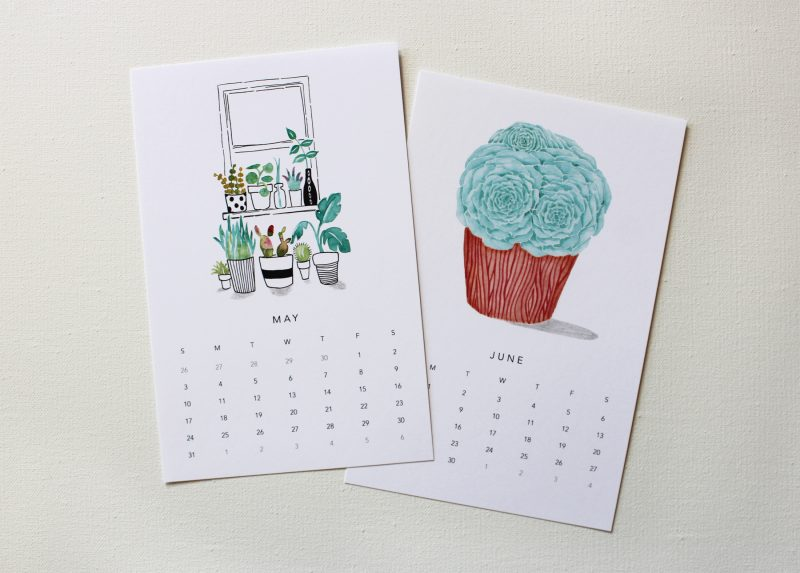 May and June from a calendar for plant lovers showing a succulent and a windowsill full of plants by messy bed studio