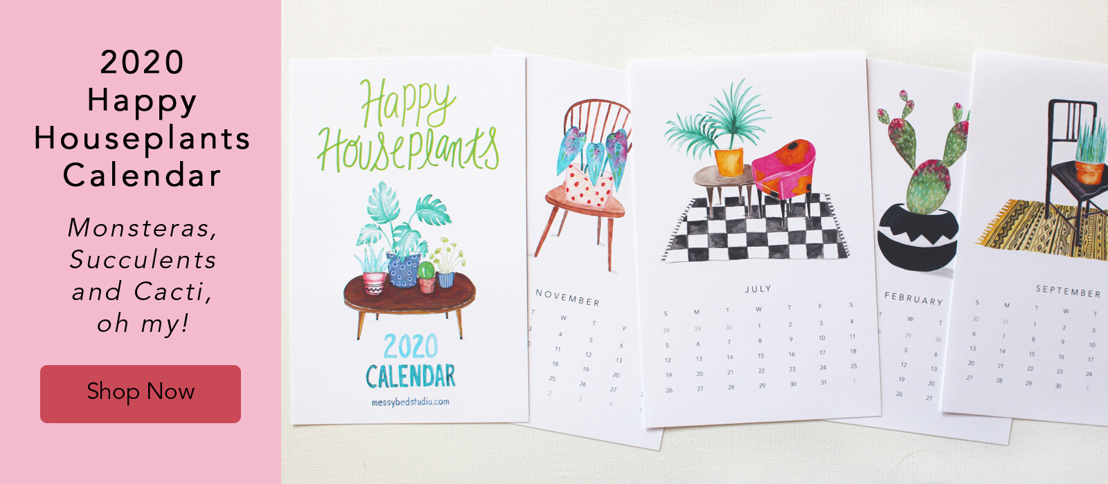 2020 Happy Houseplants Calendar pages by messy bed studio