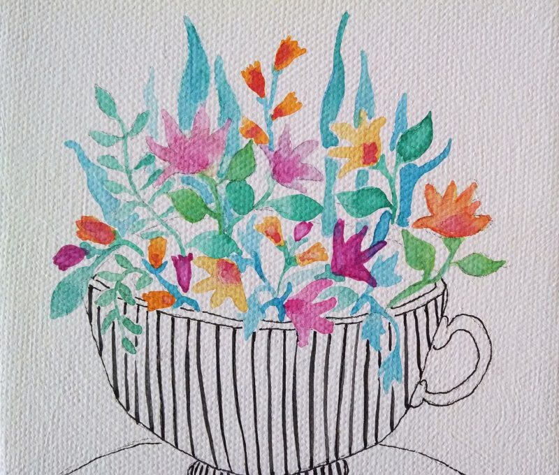 close up details of original flower watercolor painting in pinks, oranges and green in a black and white striped teacup by messy bed studio