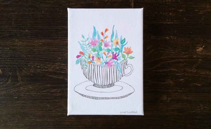 flower watercolor painting with flowers in a teacup by messy bed studio