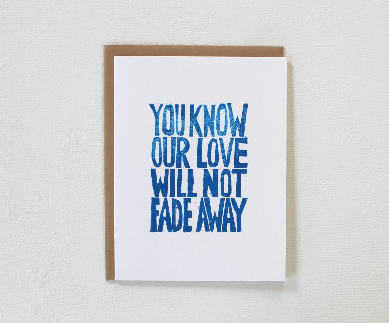 hand printed not fade away cards in blue ink with kraft envelope by messy bed studio