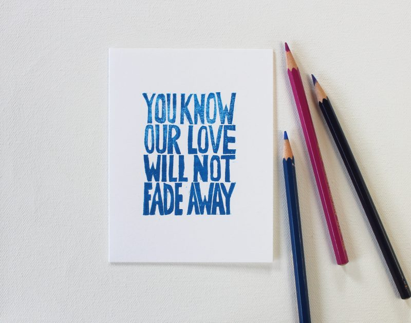 not fade away cards in blue ink shown with colored pencils by messy bed studio