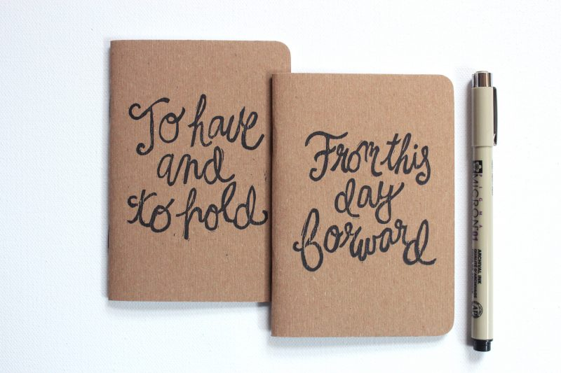 To have and to hold from this day forward set of two vow books printed in black ink in script by messy bed studio