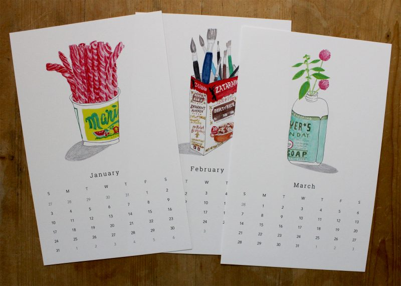 January, February and March pages of the simple living with trash 2021 wall calendar with hand painted images of twizzlers, zatarrains and Mrs. Myers hand soap bottle by messy bed studio